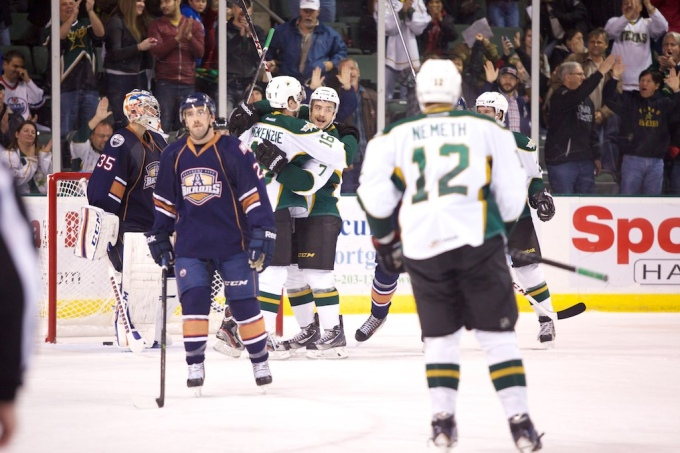 Colton Scevior celebrates his 200th career AHL point and the game-winning goal against Oklahoma City. (Photo by Christina Shapiro)