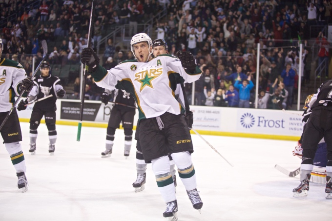 Colton Sceviour celebrates during his two-goal night against San Antonio on Dec. 28. (Photo by Christina Shapiro/Texas Stars)