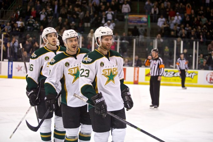 Travis Morin and Colton Sceviour each have 23 goals this season. (Photo by Christina Shapiro/Texas Stars)