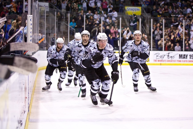 Brett Ritchie celebrates his goal in the third period. (Photo by Christina Shapiro/Texas Stars)