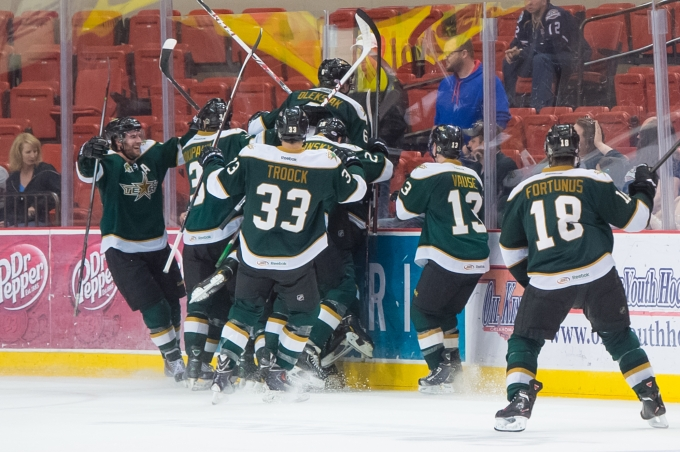 Texas celebrates the game-winning goal in overtime against Oklahoma City. (Photo by Rob Ferguson/Oklahoma City Barons)
