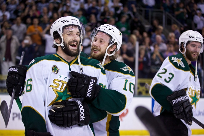Justin Dowling and Mike Hedden celebrate a goal in Game 7. (Photo by Christina Shapiro/Texas Stars)