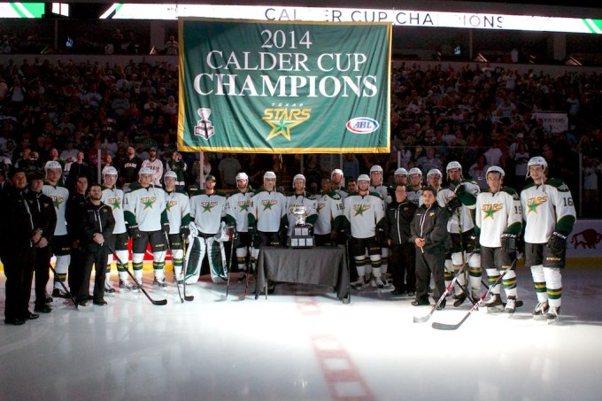 Texas hoisted the Calder Cup banner Saturday. (Photo by Christina Shapiro/Texas Stars)