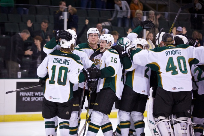 There have been more goal  celebrations in OT this season. (Photo by Christina Shapiro/Texas Stars)