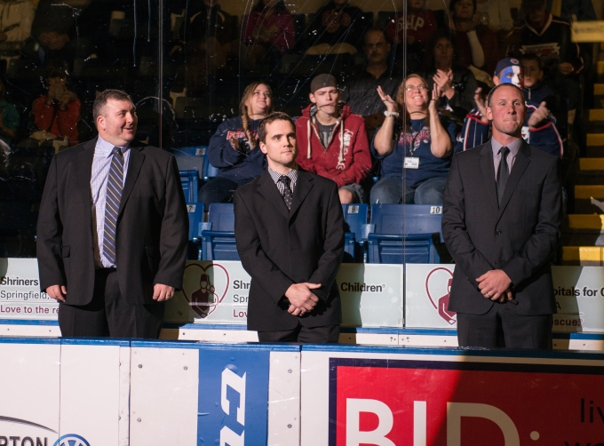 Toby Petersen behind the bench before the Springfield Falcons home opener. (Photo courtesy of Springfield Falcons)