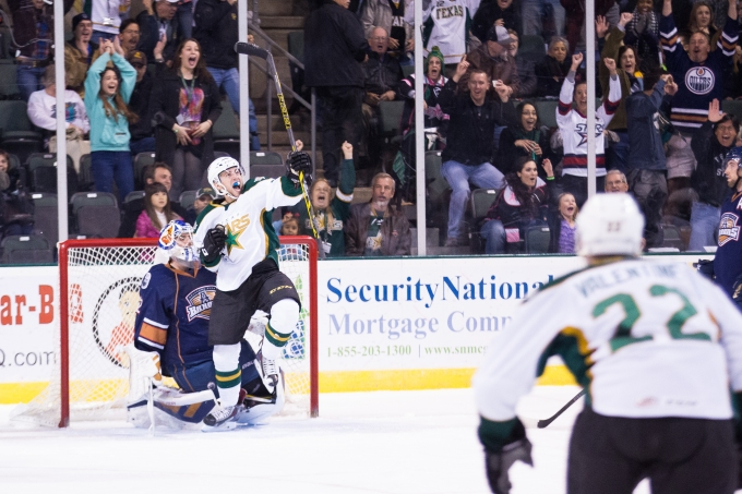 Jesse Root celebrates his goal in the first period. (Photo by Christina Shapiro/Texas Stars)
