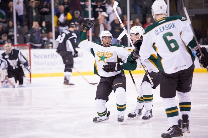 Gemel Smith celebrates a goal 23 seconds into the Stars 6-3 victory. (Photo by Christina Shapiro/Texas Stars)