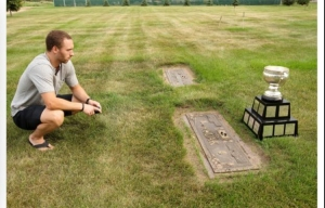Derek Hulak visits his mother's grave with the Calder Cup. (Photo courtesy of Derek Hulak)