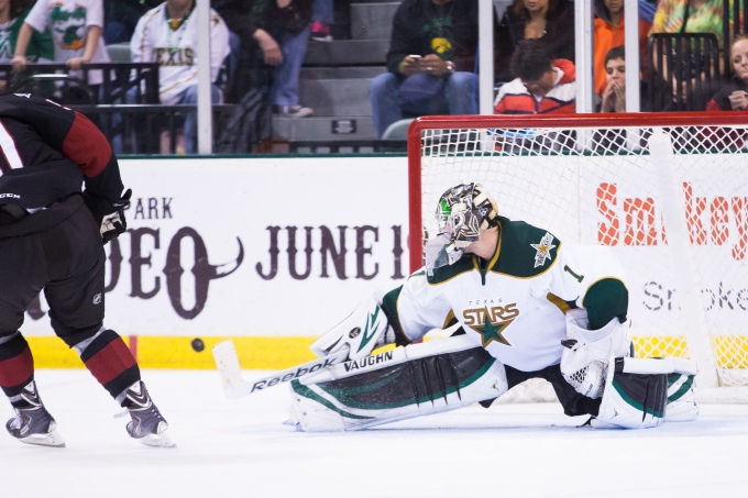 Jack Campbell makes a final stop in the shootout to clinch a victory. (Photo by Christina Shapiro/Texas Stars)