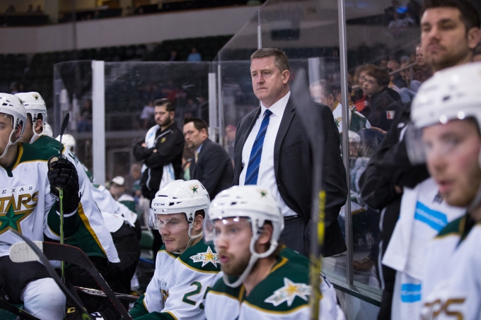 Derek Laxdal on the bench during Texas' win against Lake Erie. (Photo by Christina Shapiro/Texas Stars)