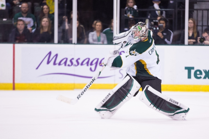 Jack Campbell makes a pass earlier this season. (Photo by Christina Shapiro/Texas Stars)