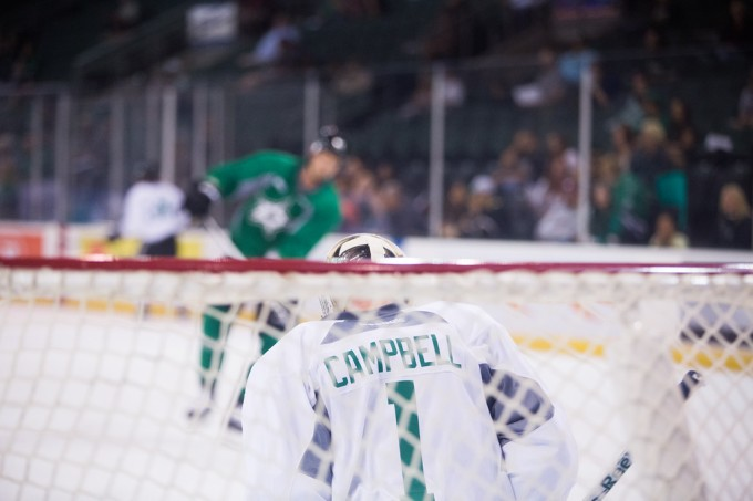 Jack Campbell stopped 32 shots tonight for Dallas in a pre-season game. (Photo by Christina Shapiro/Texas Stars)