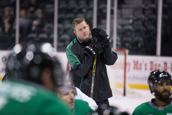 Texas Stars coach Derek Laxdal during training camp earlier this week. (Photo by Christina Shapiro/Texas StarS)