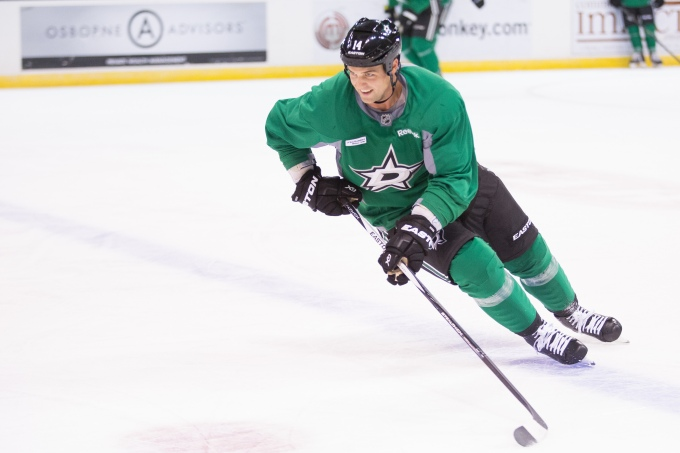 Jamie Benn practices at the Cedar Park Center on Saturday. (Photo by Christina Shapiro/Texas Stars)