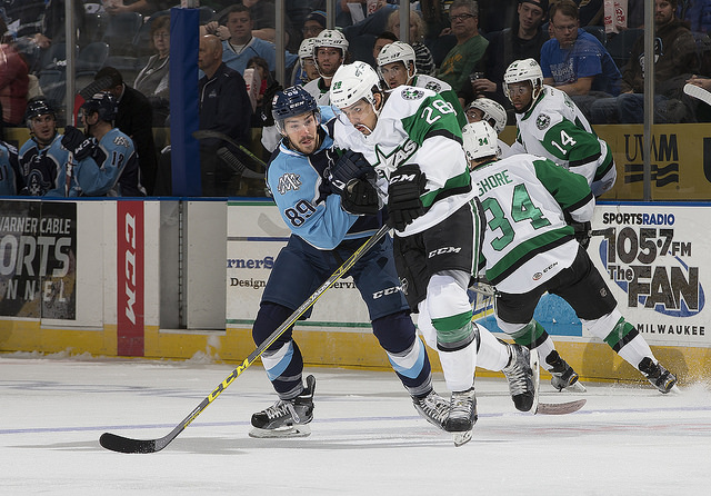 Matej Stransky battles for positioning against the Milwaukee Admirals. (Photo courtesy of the Milwaukee Admirals)