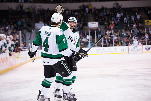 Travis Morin and Stephen Johns celebrate a shorthanded goal in the second period. (Photo by Christina Shapiro/Texas Stars)