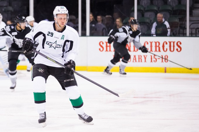 Radek Faksa during a preseason game this past weekend. (Photo by Christina Shapiro/Texas Stars)
