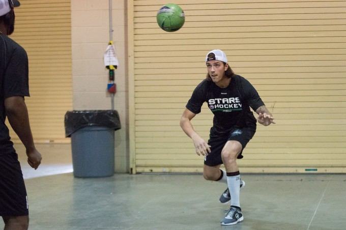 Maxime Lagace heads a soccer ball before the Stars game with Stockton. (Photo by Christina Shapiro/Texas Stars)