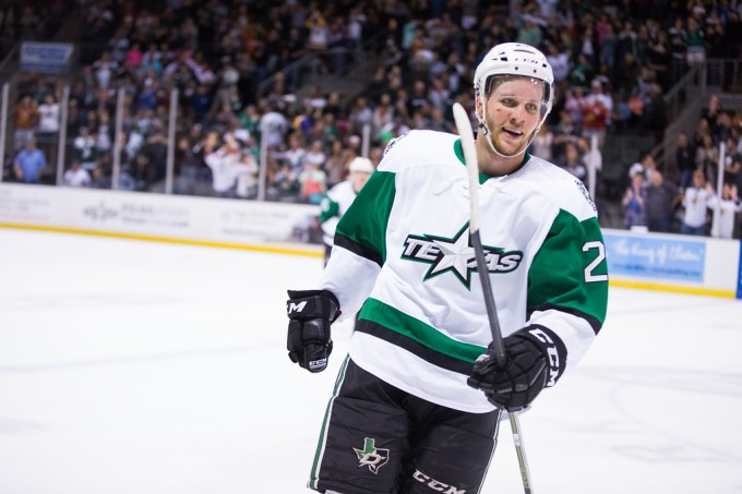 Radek Faksa during the Texas Stars season-opening game this season. (Photo by Christina Shapiro/Texas Stars)
