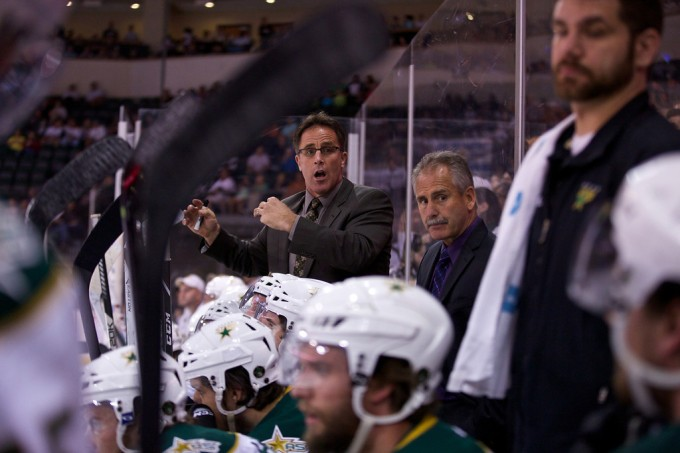 Former Texas Stars coach Willie Desjardins and  former assistant coach Doug Lidster direct the Texas Stars bench during the 2014 Calder Cup Finals. (Photo by Christina Shapiro/Texas Stars)
