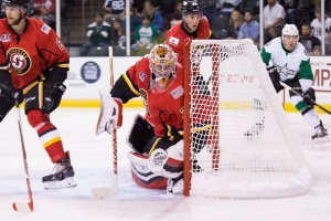 Jon Gillies posted a 36-save shutout for Stockton. (Photo by Christina Shapiro/Texas Stars)