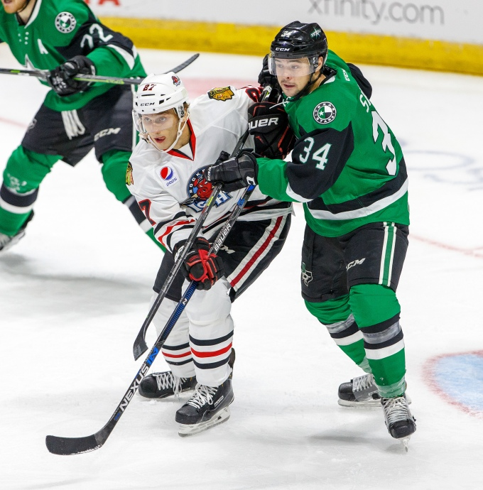 Devin Shore has been setting up in front of the net and getting rewarded. (Photo courtesy of the Rockford IceHogs)