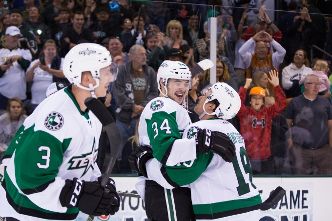 Devin Shore and Brendan Ranford celebrate Shore's game-winning goal in overtime. (Photo by Christina Shapiro/Texas Stars)