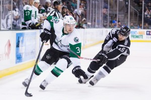 Devin Shore during the Texas Stars season-opening game against the San Antonio Rampage. (Photo by Christina Shapiro/Texas Stars)