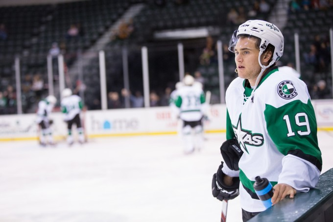Brendan Ranford before a Texas Stars game this past weekend against the Bakersfield Condors. (Photo by Christina Shapiro/Texas Stars)