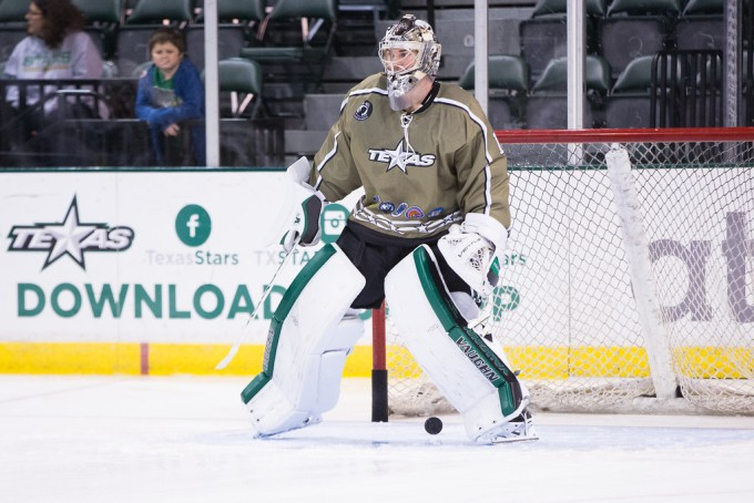 Jack Campbell during warmups last week. Campbell is wearing a mask this season honoring the life of Chris Kyle. (Photo by Christina Shapiro/Texas Stars)