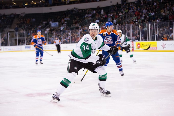 Devin Shore during Friday's game against the Bakersfield Condors. Shore was called up to the Dallas Stars on Sunday. (Photo by Christina Shapiro/Texas Stars)