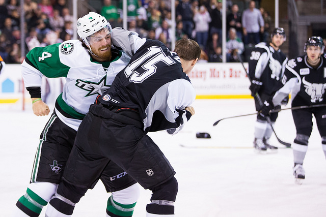 Stephen Johns and Duncan Siemens fight during the third period on Saturday. (Photo by Christina Shapiro/Texas Stars)